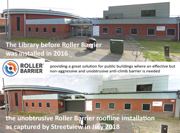 unobtrusive Roller Barrier protecting university flat roof.