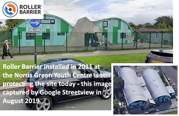Youth Centre Roller Barrier Installation installed in 2011 - image from 2019.