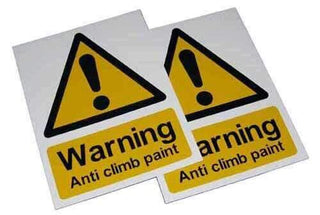 Small Warning Sign – Anti Climb Paint – HiViz 150 x 100mm – multisaver 10 pack | Roller Barrier