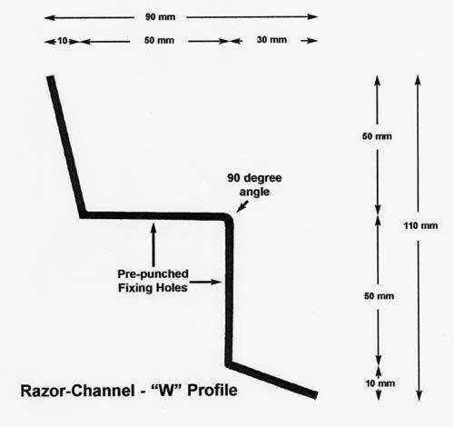 Razor Channel W Profile – anti-climb security spikes – 1.8 metre length – galvanised finish | Roller Barrier