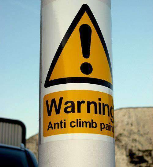 Flexible HiVis Adhesive Warning Sign (150 x 200mm) – Anti Climb Paint – individual sign | Roller Barrier
