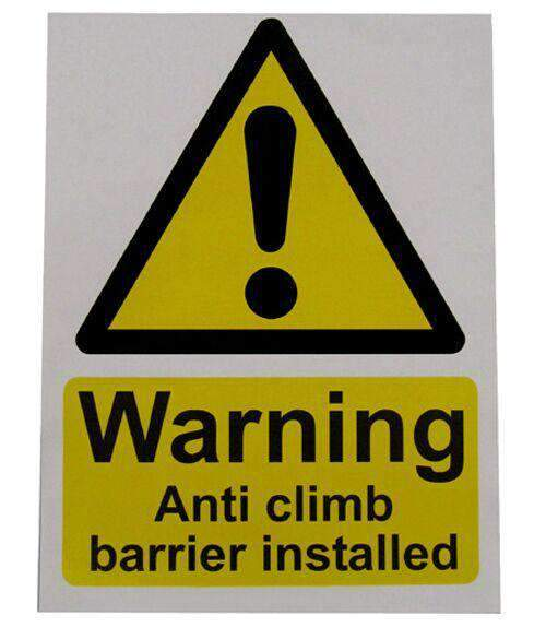 Large Warning Sign – Anti Climb Barrier – HiViz 200 x 150mm | Roller Barrier