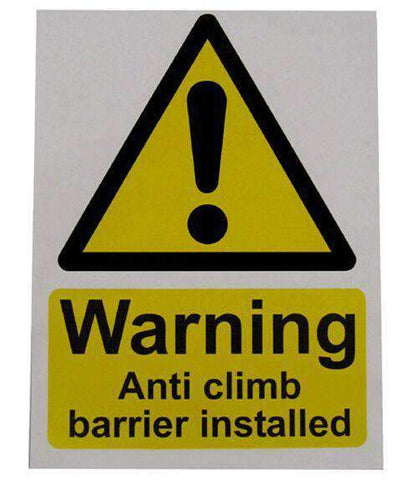 Small Warning Sign – Anti Climb Barrier – HiViz 150 x 100mm | Roller Barrier