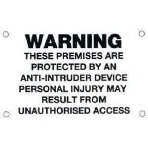 Warning Sign – Anti-Intruder (size 85x55mm) – black text/white background | Roller Barrier