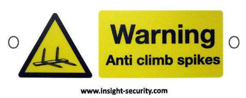 Compact Hi Viz Warning Sign – Anti Climb Spikes – HiViz 100 x 45mm – multisaver 5 pack | Roller Barrier