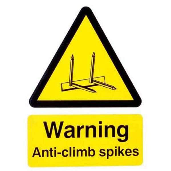 Extra Large Warning Sign – Anti Climb Spikes – HiViz 300 x 200mm | Roller Barrier