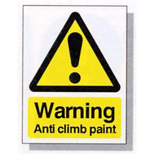 HiVis Warning Sign (150 x 200mm) – Anti Climb Paint – individual sign | Roller Barrier