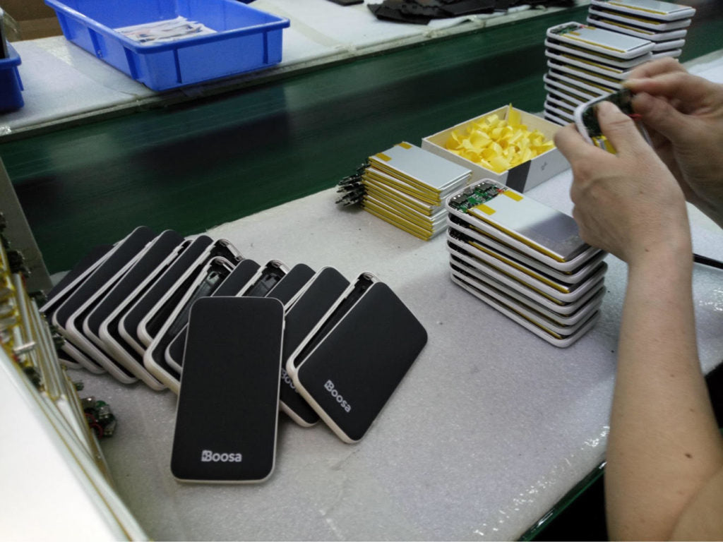 Boosa Macro M1 Power Banks on the Assembly Line