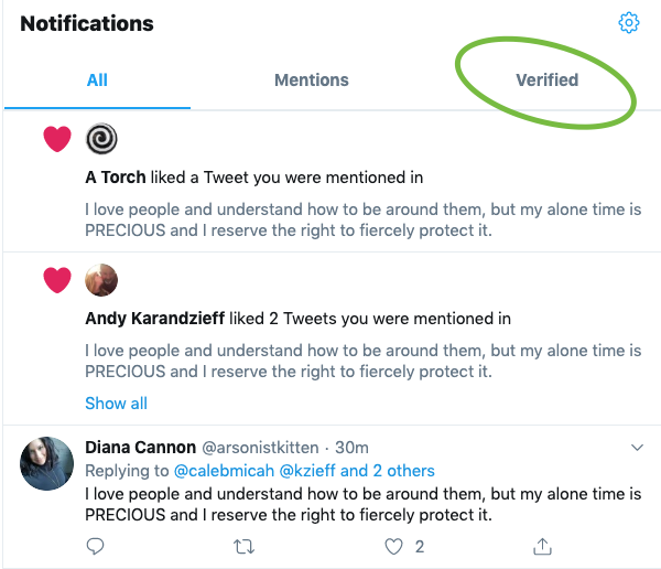 Twitter green checkmark verification system