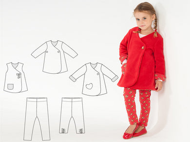Baby girls leggings + dress sewing pattern ebook pdf bundle ENNA + LENA