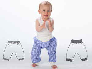 Easy Baby and Children pants sewing pattern for toddler boys + girls. Sweatpants, yoga harem pants with ribbing BREK by Patternforkids