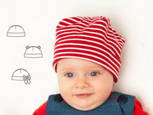 Laden Sie das Bild in den Galerie-Viewer, Easy Baby Hat sewing pattern pdf newborn to 3Y, for Children Boy + Girl Beanie in 3 Versions, Fully lined + Unlined BUBU from Patternforkids