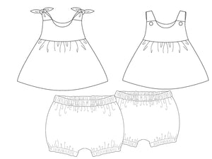 Baby girls twin set dress sewing pattern LIPSIA + ELISA Paper pattern
