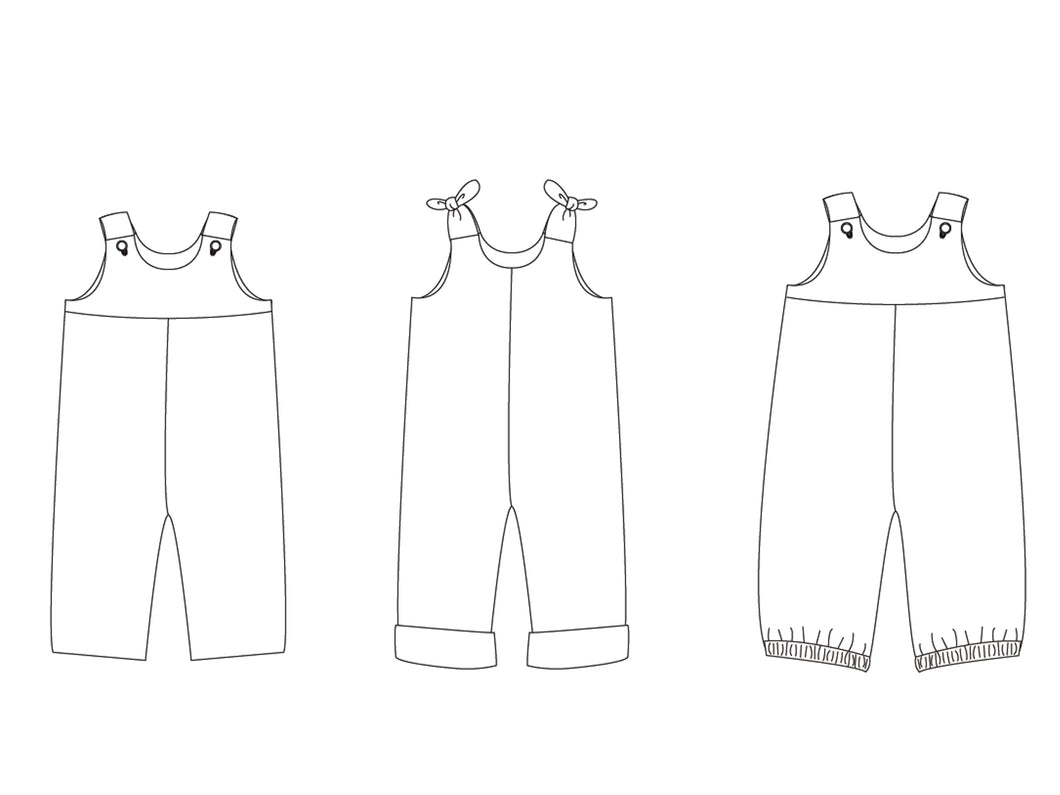 Lined baby overall dungaree sewing pattern for children boys + girls. Babies toddler jumpsuit with loops or buttons LILLI&BO + BOBBY