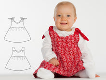 Laden Sie das Bild in den Galerie-Viewer, Lined baby tunic dress for girls pattern. Pinafore dress sizes 1M to 3Y. Easy paper sewing pattern for baby LIPSIA by Patternforkids