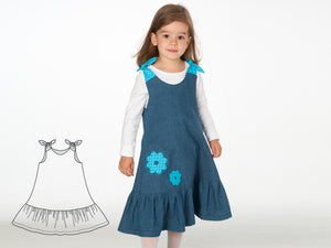 Baby girls dress sewing pattern SIENA Paper pattern