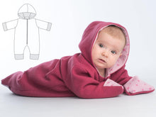 Laden Sie das Bild in den Galerie-Viewer, Baby jumpsuit sewing pattern ebook pdf with hood SOLE