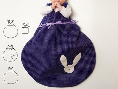 Baby sleep sack sewing pattern ebook pdf with bunny toy TONDO + TONDINO
