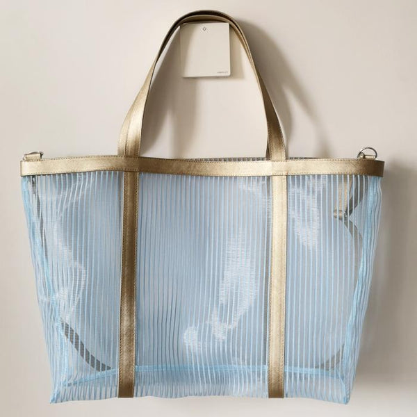 Sky Blue Mesh Beach Bag