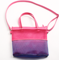 Pink & Purple Mesh Shopping Tote Bag
