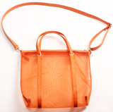 Sheer Orange Mesh Shopping Tote Bag