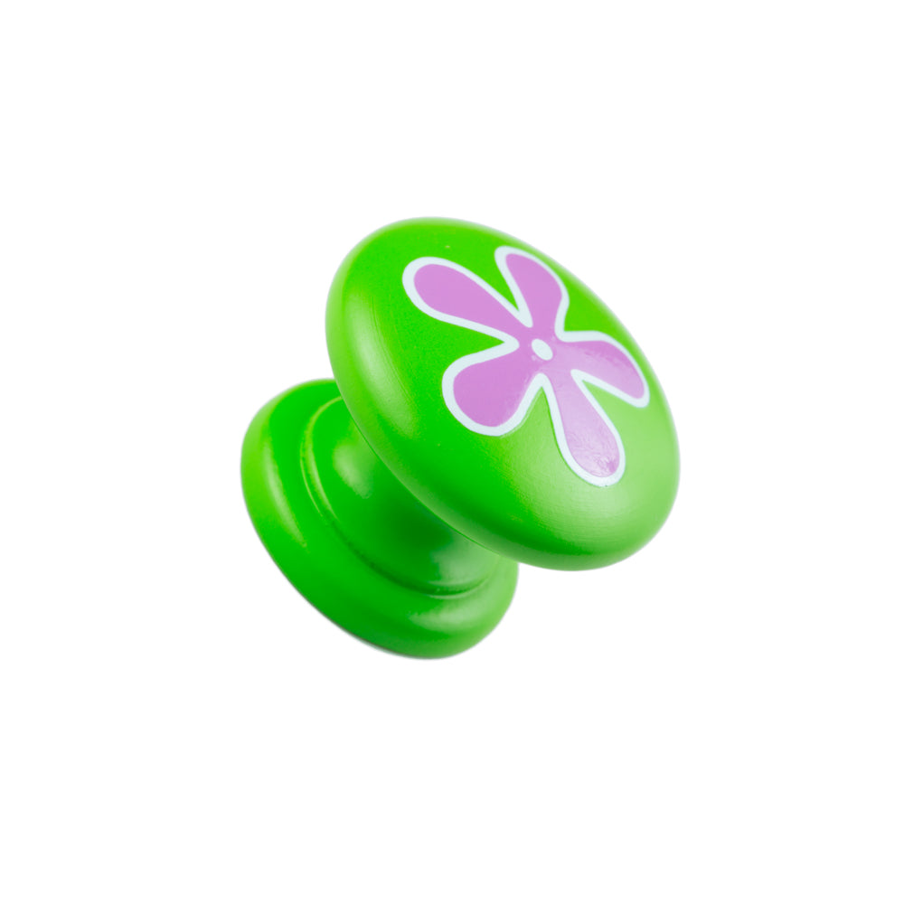 Hand Painted Green Knob with Pink Flower