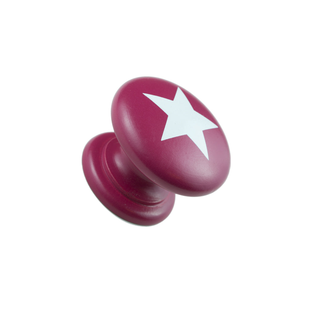 Hand Painted Red Knob with White Star