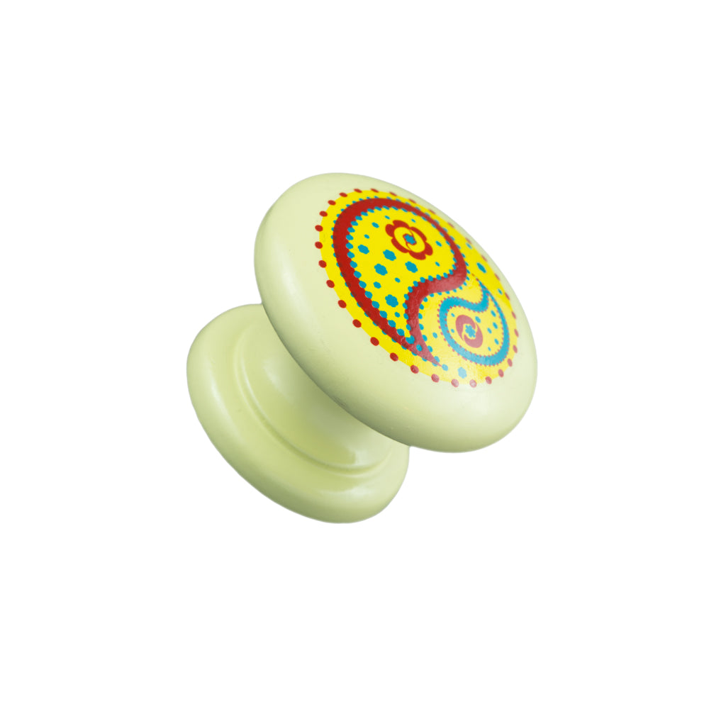 Hand Painted Cream Knob with Yellow Paisley