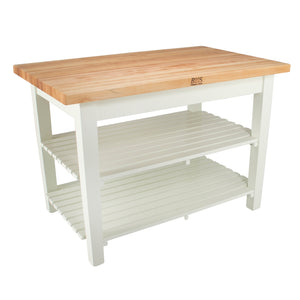 "Maple Classic Country Work Table 48"" X 24"" - Alabaster Color Base"
