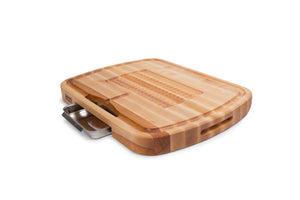 Carving Collection Pyramid Design Reversible Maple Cutting Board with Juice Groove and Pan