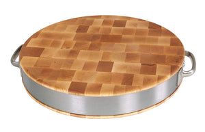 "Maple Oval Cutting Board With Stainless Band & Handles-2-1/2"" Thick"