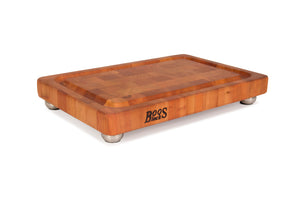 Cherry End Grain Chopping Block with Stainless Steel Bun feet, w/Groove