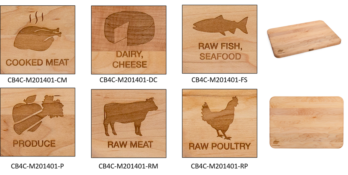 "Food Specific Laser Engraved Wood Cutting Boards - 1"" Thick (6 Types)"
