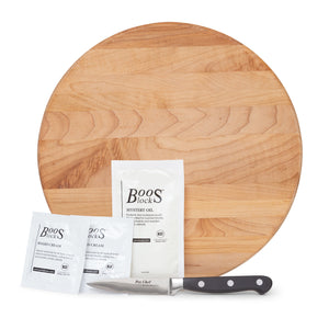 "12"" Round Maple Board With Feet Gift Pack (GP 18)"
