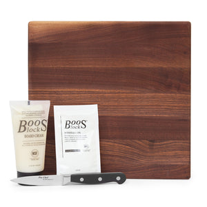 "12"" Square Walnut Board With Feet Gift Pack (GP 31)"