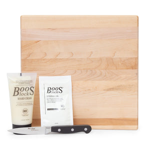 "12"" Square Maple Board With Feet Gift Pack (GP 7)"
