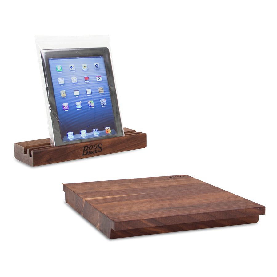 Walnut iBlock Cutting Board & Mobile Device Stand