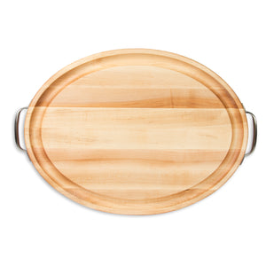 Maple Oval Cutting Board With Juice Groove & Stainless Handles