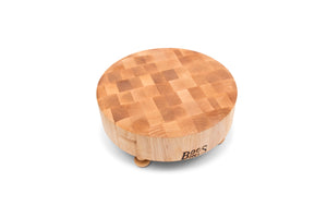 "Maple Wood 12"" Round End Grain Chopping Block with tapered Feet"