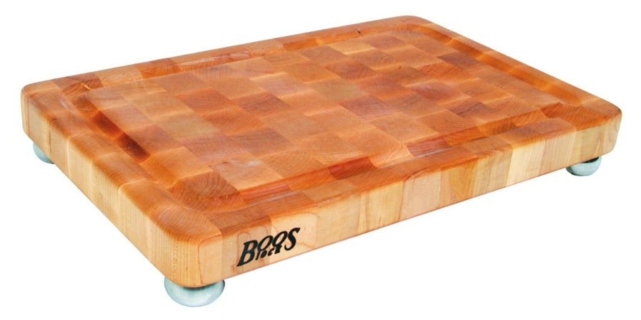 Maple Wood End Grain Chopping Block with Stainless Steel Bun feet, w/Groove
