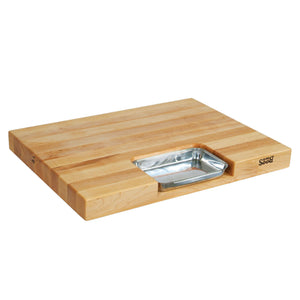 Maple Newton Prep Master Cutting Board With Juice Groove & Stainless Pan