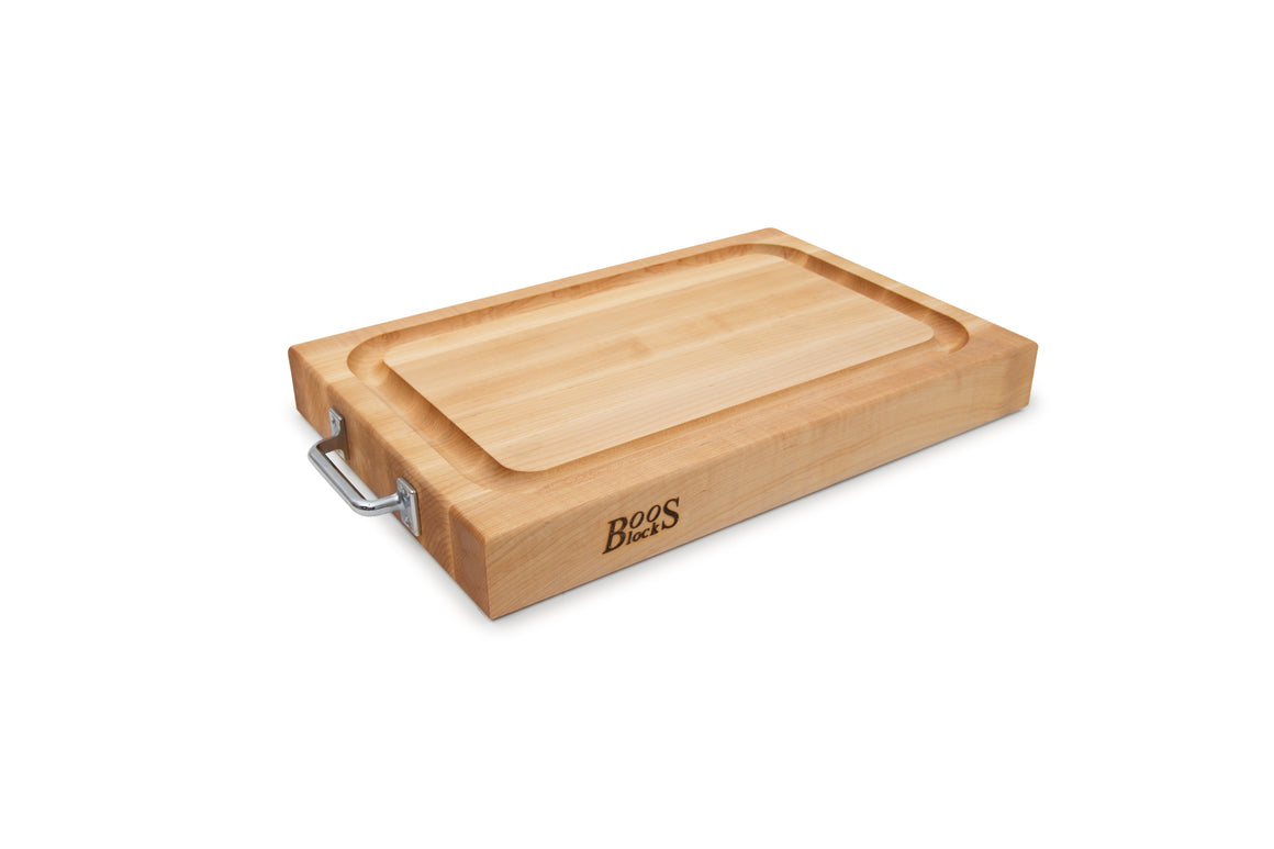 Maple RAFR Cutting Board With Juice Groove & Stainless Handles