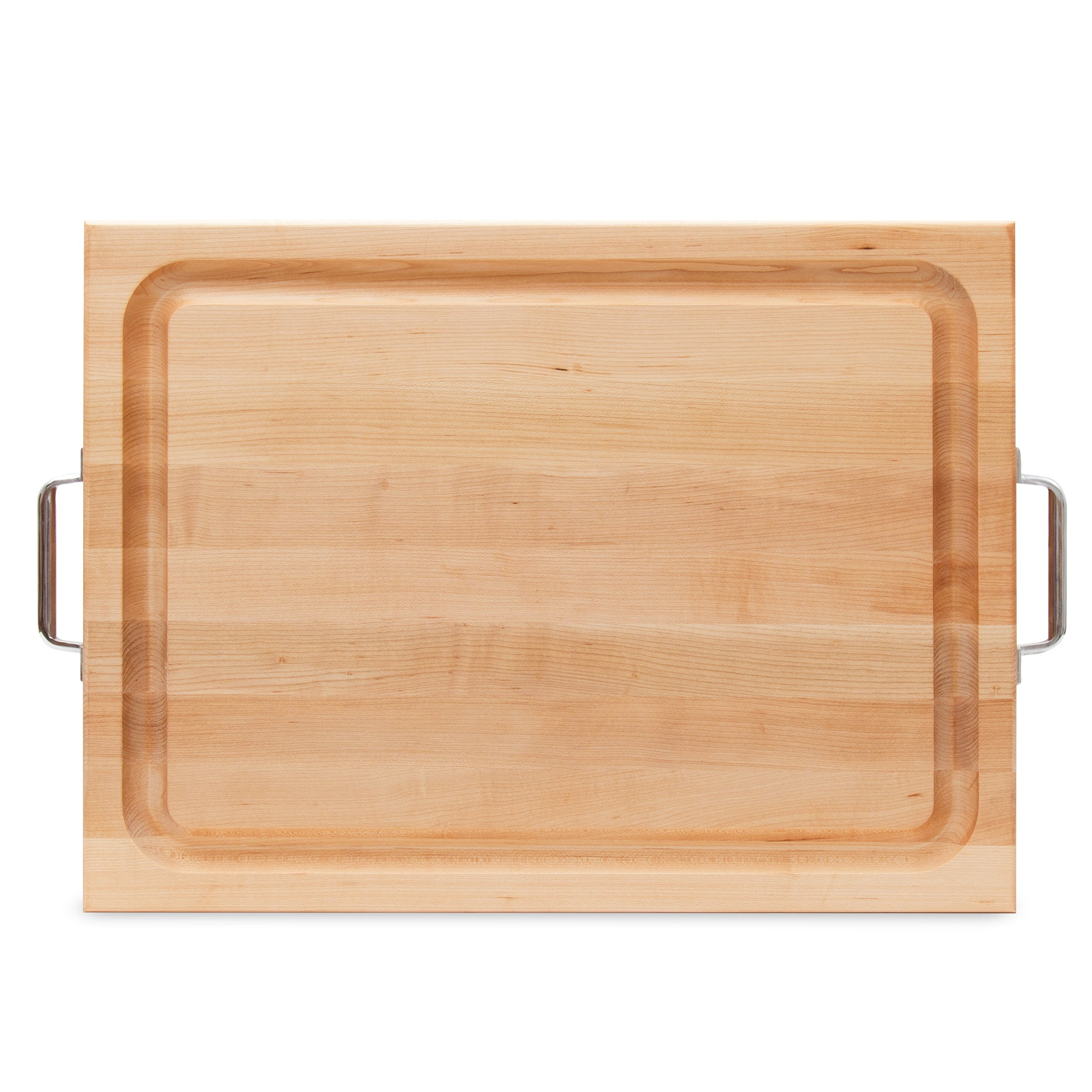 Maple Rafr Cutting Board With Juice Groove Stainless Handles