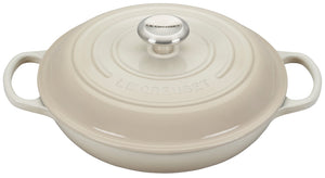 Le Creuset Signature Braiser with Stainless Steel Knob - Meringue