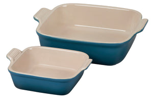 Le Creuset Heritage Set of 2 Square Dishes - Deep Teal