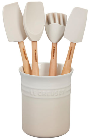 Le Creuset Craft Series 5-Piece Utensil Set with Crock - Meringue