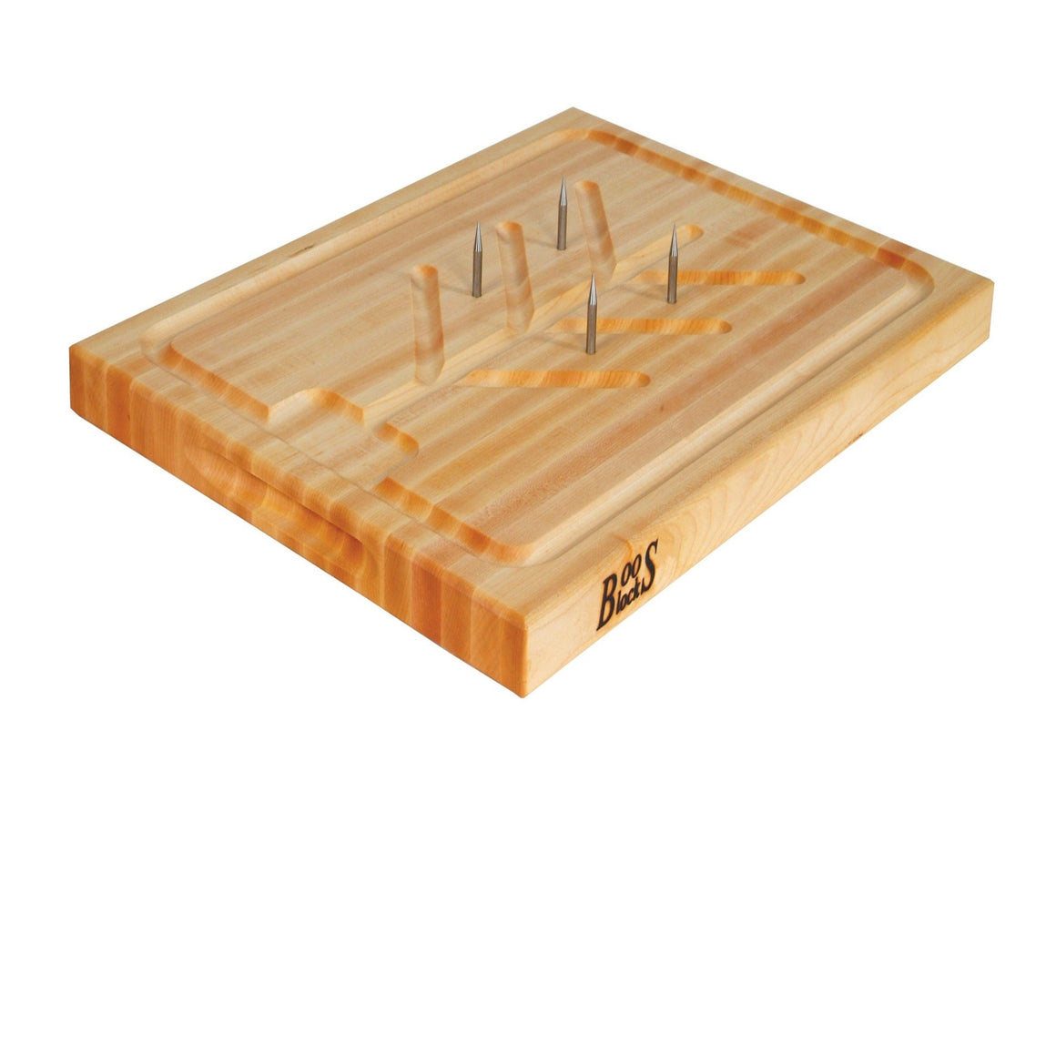 Maple SLIC Reversible Cutting Board with Tree Shaped Moat, Stabilizing Pins and Juice Groove (Professional Collection)