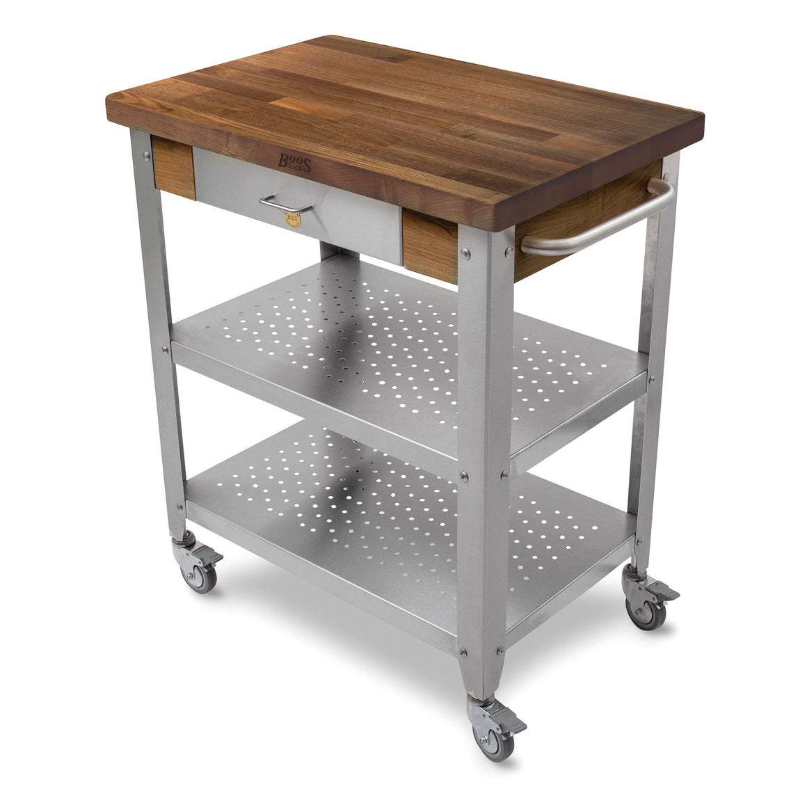 "Walnut Cucina Elegante Cart - 30-3/4"" x 20"" - Stainless Steel Shelves and Drawer Face Panel"