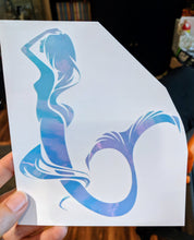Load image into Gallery viewer, Color Changing HOLOGRAPHIC Mermaid w/ Flowing Hair Vinyl Decal for Car, Yeti, Home