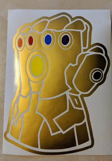 Infinity Gauntlet Vinyl Decal in Metallic Gold w/ Stones for Car/Home/Yeti